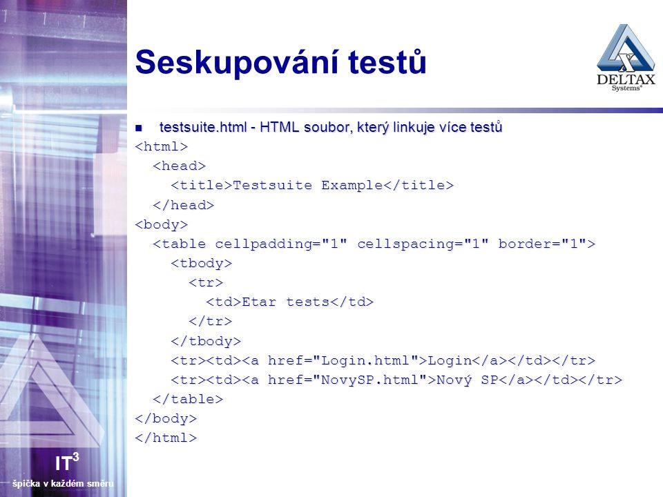 IT 3 špička v každém směru Seskupování testů testsuite.html - HTML soubor, který linkuje více testů testsuite.html - HTML soubor, který linkuje více testů<html> Testsuite Example Testsuite Example <body> Etar tests Etar tests Login Login Nový SP Nový SP </body></html>
