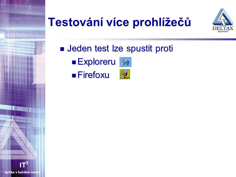 IT 3 špička v každém směru Možnosti spouštění testů Ručně Ručně Okno firefox pluginu – jeden test Okno firefox pluginu – jeden test Pomocí testrunneru – více testů (testsuite) Pomocí testrunneru – více testů (testsuite)