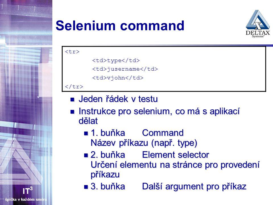IT 3 špička v každém směru Selenium command Jeden řádek v testu Jeden řádek v testu Instrukce pro selenium, co má s aplikací dělat Instrukce pro selen