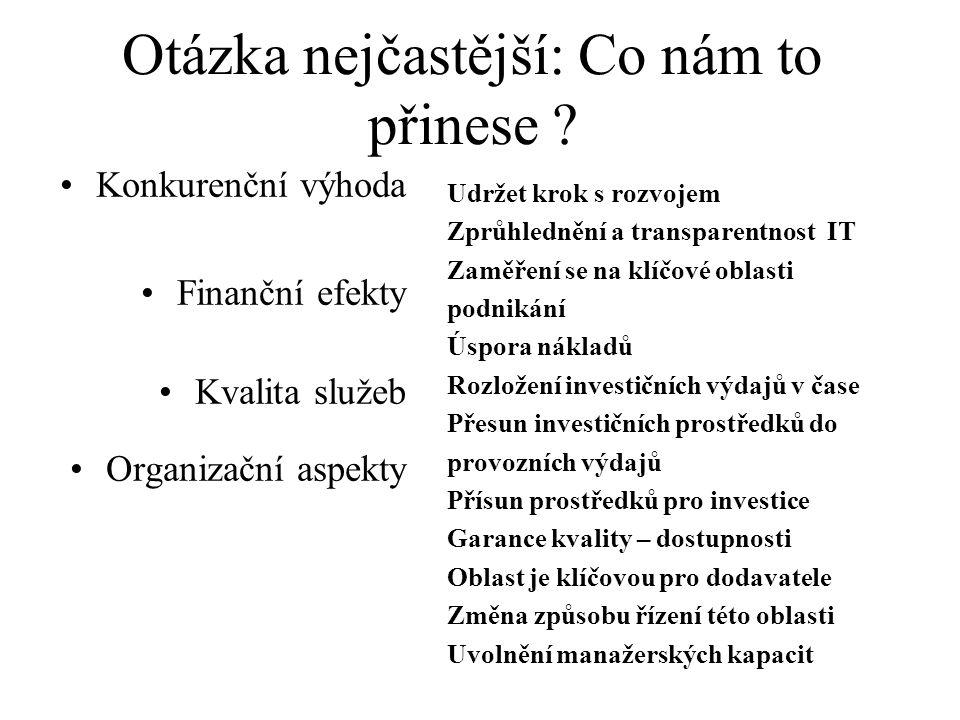 Otázka nejčastější: Co nám to přinese ? Konkurenční výhoda Finanční efekty Kvalita služeb Organizační aspekty Udržet krok s rozvojem Zprůhlednění a tr