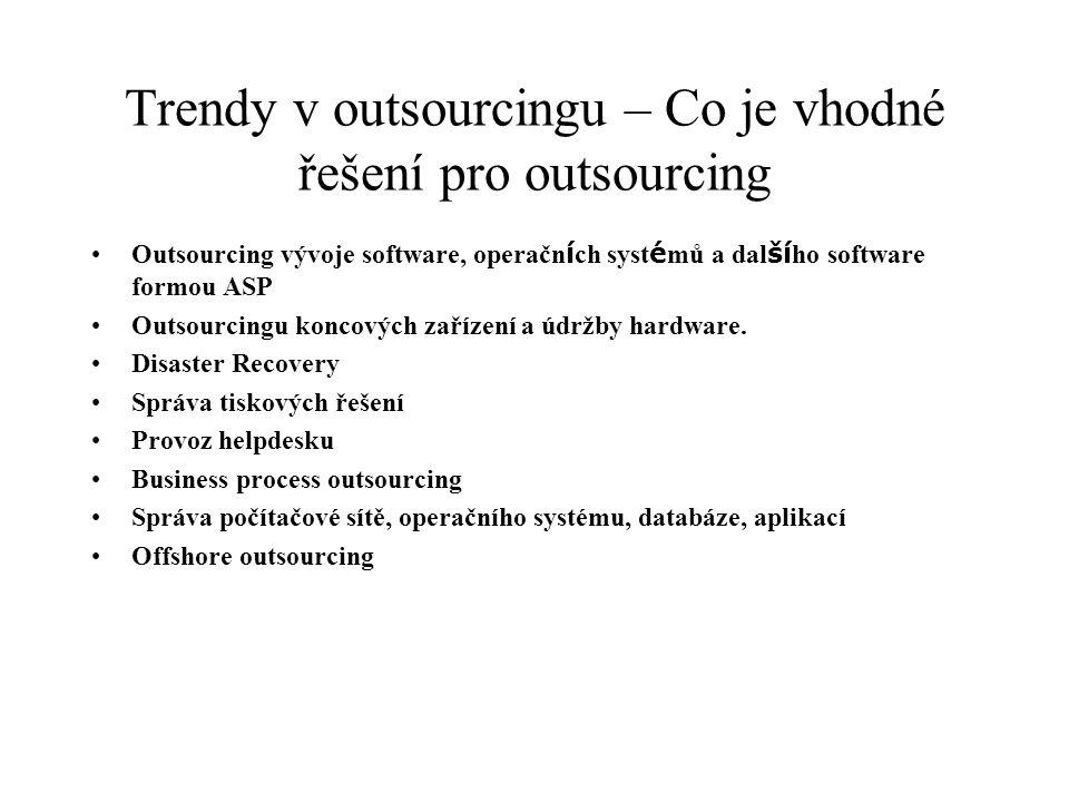 Trendy v outsourcingu – Co je vhodné řešení pro outsourcing Outsourcing vývoje software, operačn í ch syst é mů a dal ší ho software formou ASP Outsou