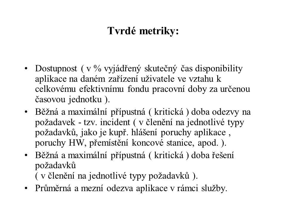 Tvrdé metriky: Dostupnost ( v % vyjádřený skutečný čas disponibility aplikace na daném zařízení uživatele ve vztahu k celkovému efektivnímu fondu prac