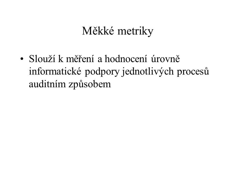 Měkké metriky Slouží k měření a hodnocení úrovně informatické podpory jednotlivých procesů auditním způsobem