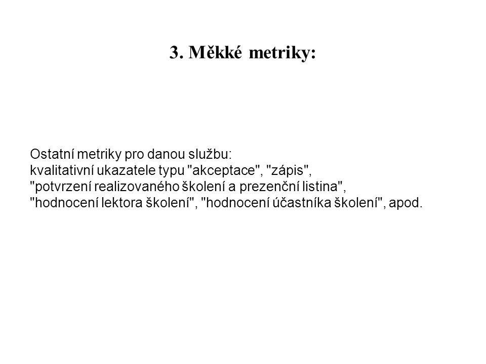 3. Měkké metriky: Ostatní metriky pro danou službu: kvalitativní ukazatele typu