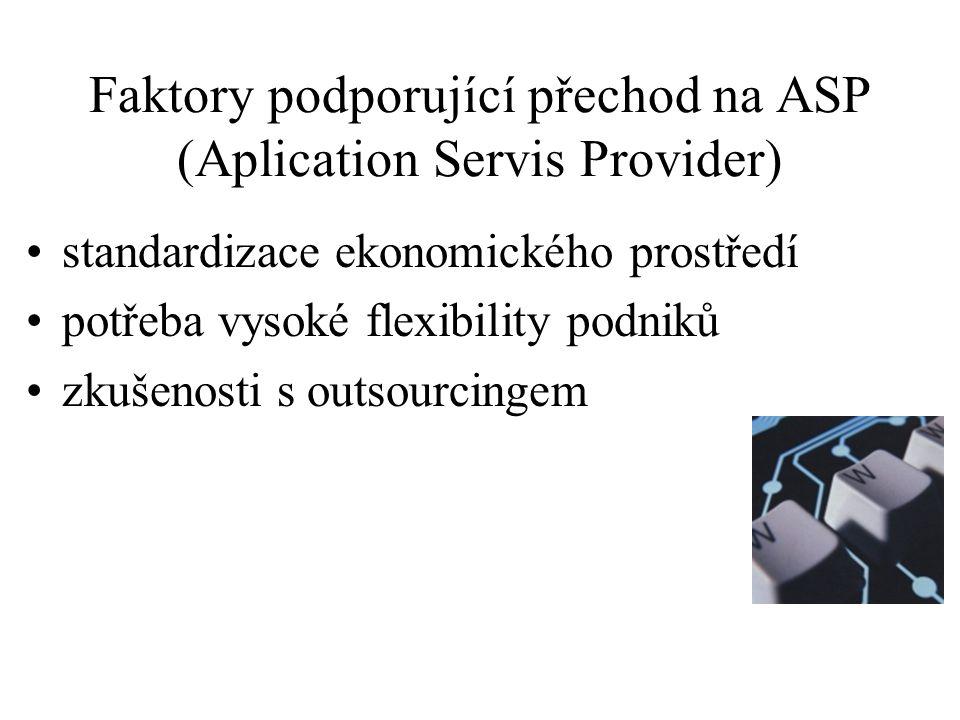 Faktory podporující přechod na ASP (Aplication Servis Provider) standardizace ekonomického prostředí potřeba vysoké flexibility podniků zkušenosti s o