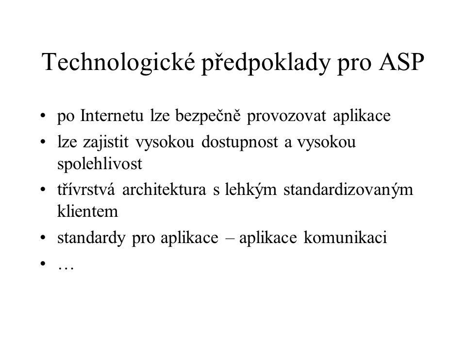Technologické předpoklady pro ASP po Internetu lze bezpečně provozovat aplikace lze zajistit vysokou dostupnost a vysokou spolehlivost třívrstvá archi