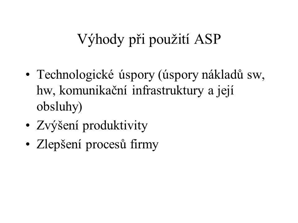 Výhody při použití ASP Technologické úspory (úspory nákladů sw, hw, komunikační infrastruktury a její obsluhy) Zvýšení produktivity Zlepšení procesů f