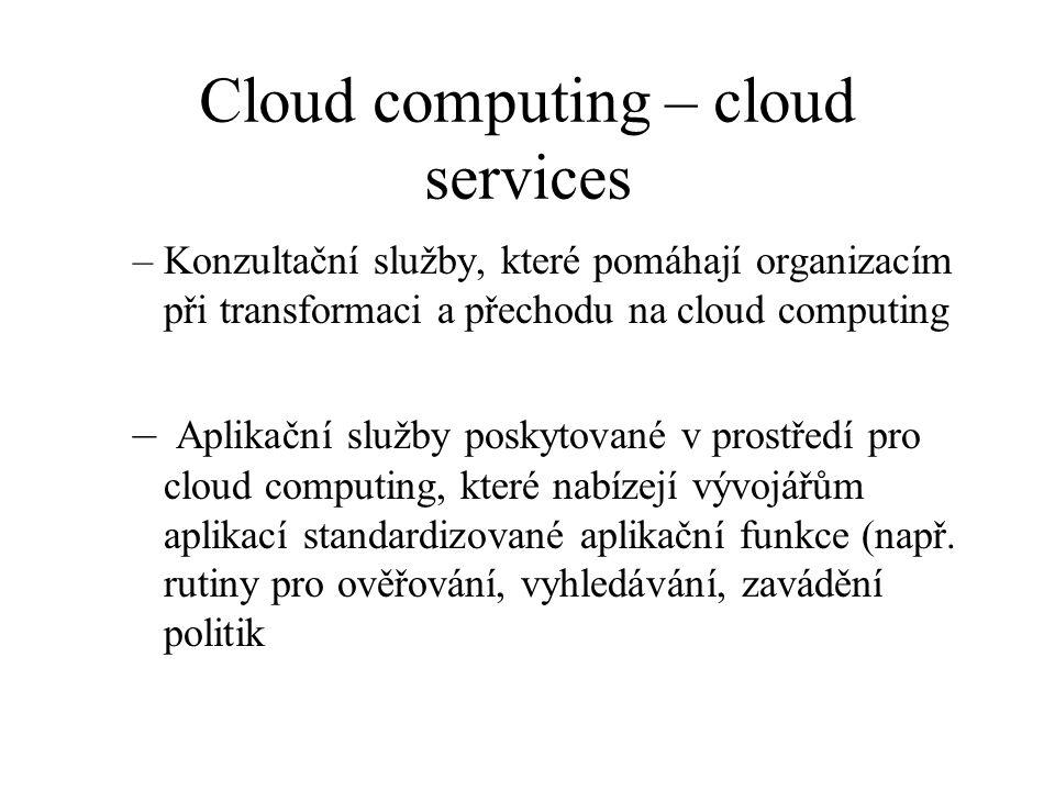 Cloud computing – cloud services –Konzultační služby, které pomáhají organizacím při transformaci a přechodu na cloud computing – Aplikační služby pos