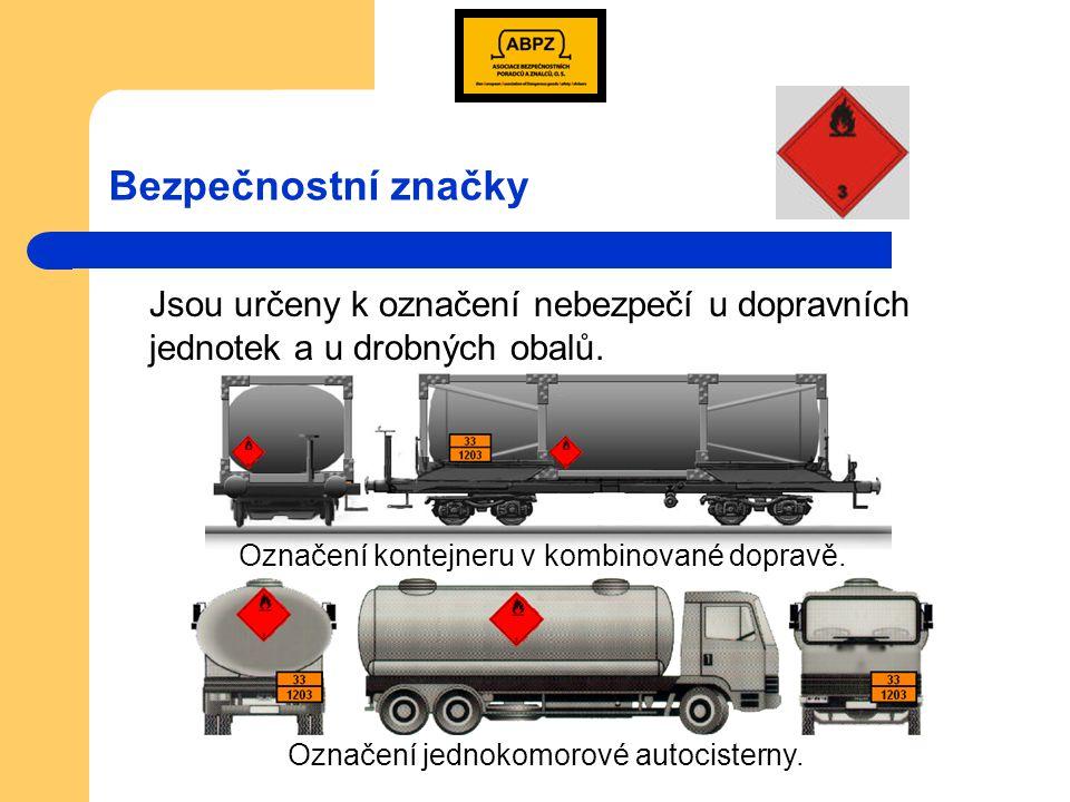 Označování dopravních jednotek horní polovina tabulky = identifikační číslo nebezpečnosti – Kemlerův kód dolní polovina tabulky = identifikační číslo látky – UN číslo