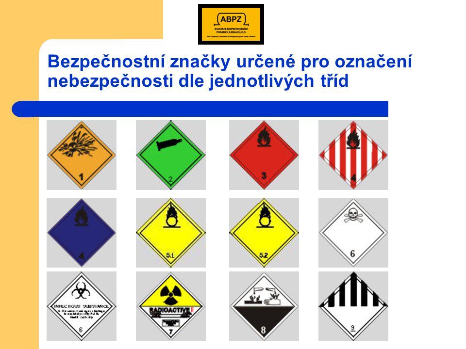 Bezpečnostní značky Jsou určeny k označení nebezpečí u dopravních jednotek a u drobných obalů.