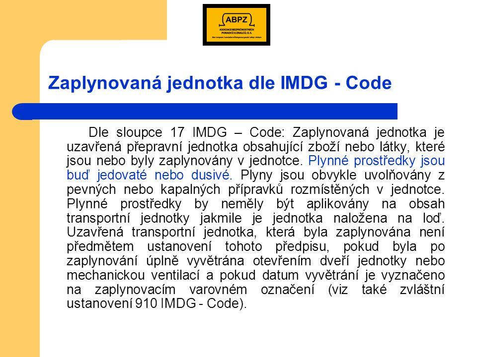 Označování zaplynované jednotky Odstranění Odstranění výstražné značky může být provedeno:  po odvětrání (škodlivé koncentrace zaplynovaného prostředí byly odstraněny)  zaplynované věci nebo látky byly vyloženy