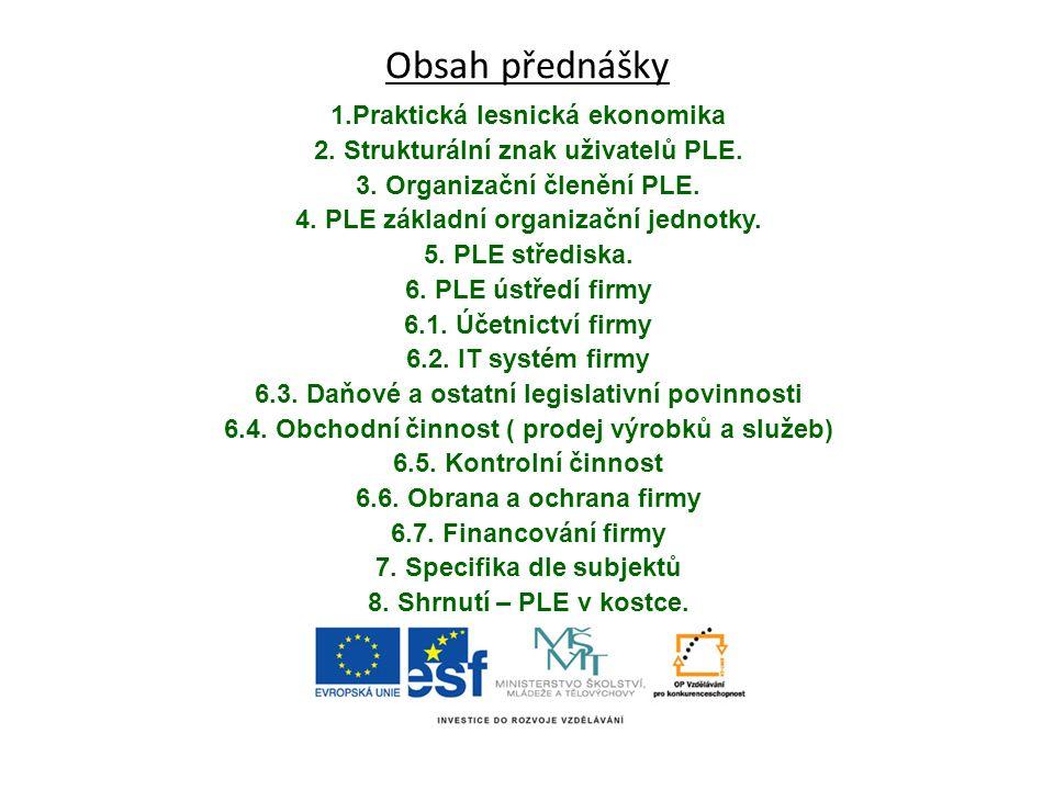 Obsah přednášky 1.Praktická lesnická ekonomika 2. Strukturální znak uživatelů PLE. 3. Organizační členění PLE. 4. PLE základní organizační jednotky. 5