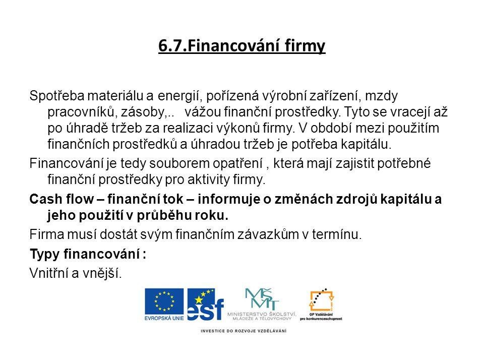 6.7.Financování firmy Spotřeba materiálu a energií, pořízená výrobní zařízení, mzdy pracovníků, zásoby,.. vážou finanční prostředky. Tyto se vracejí a