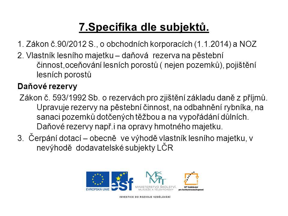 7.Specifika dle subjektů. 1. Zákon č.90/2012 S., o obchodních korporacích (1.1.2014) a NOZ 2. Vlastník lesního majetku – daňová rezerva na pěstební či