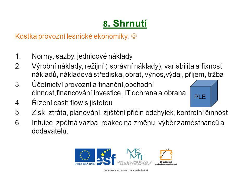 8. Shrnutí Kostka provozní lesnické ekonomiky: 1.Normy, sazby, jednicové náklady 2.Výrobní náklady, režijní ( správní náklady), variabilita a fixnost
