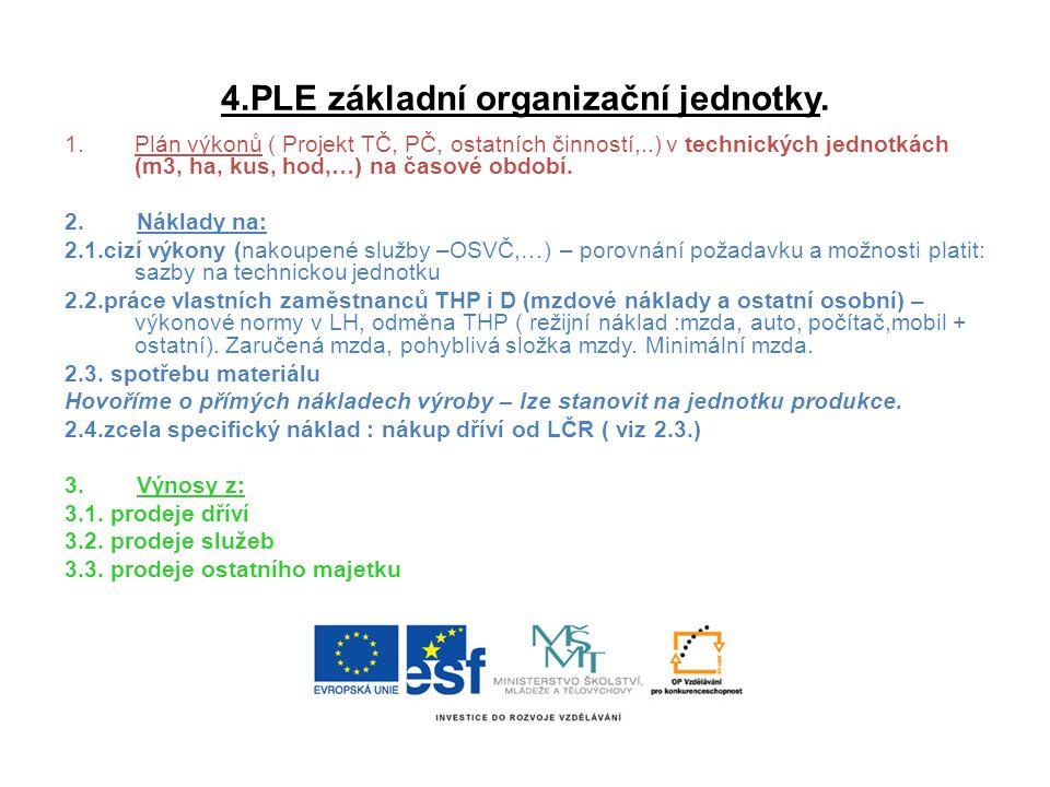 4.PLE základní organizační jednotky. 1.Plán výkonů ( Projekt TČ, PČ, ostatních činností,..) v technických jednotkách (m3, ha, kus, hod,…) na časové ob