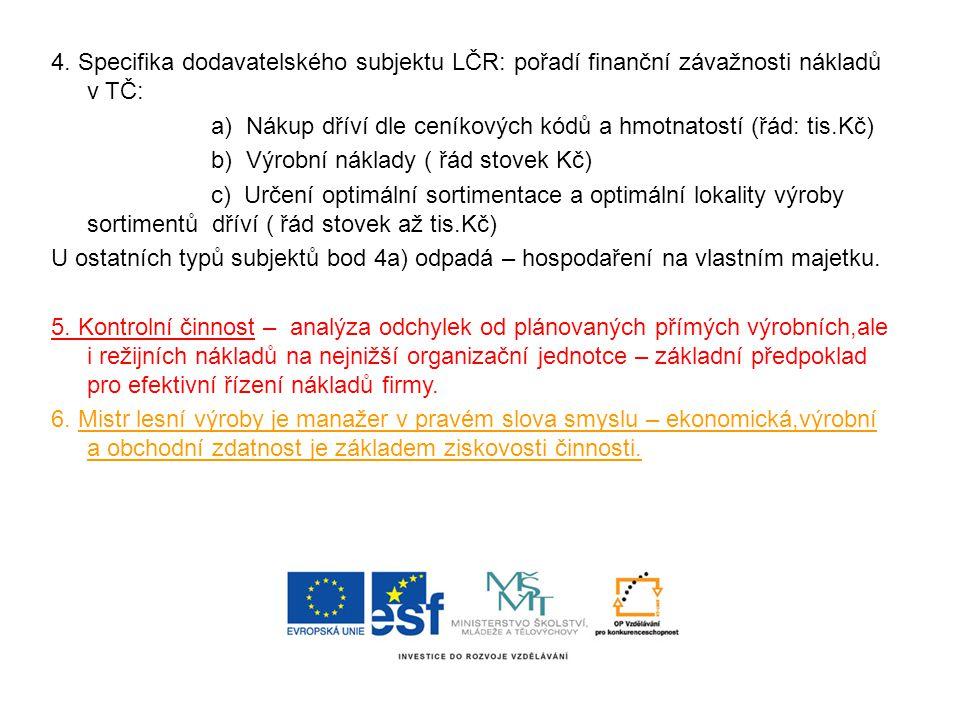 4. Specifika dodavatelského subjektu LČR: pořadí finanční závažnosti nákladů v TČ: a) Nákup dříví dle ceníkových kódů a hmotnatostí (řád: tis.Kč) b) V