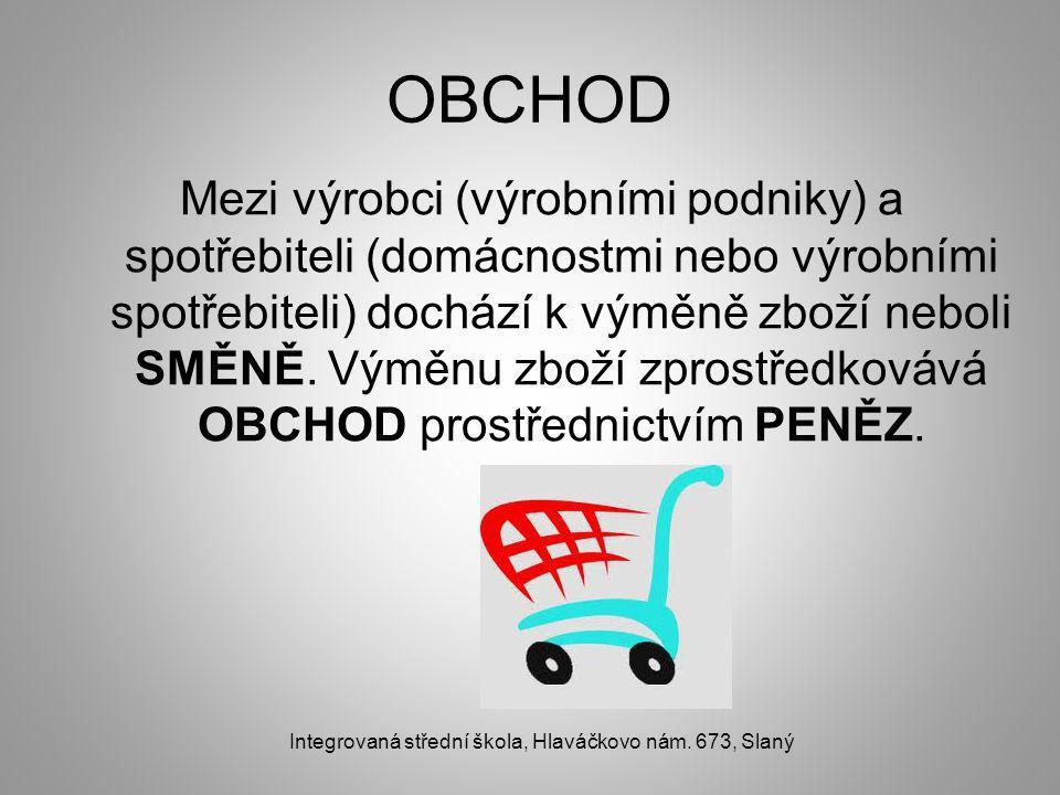 OBCHOD Mezi výrobci (výrobními podniky) a spotřebiteli (domácnostmi nebo výrobními spotřebiteli) dochází k výměně zboží neboli SMĚNĚ.