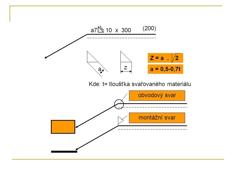 a7 10 x 300 (200) a z Z = a. 2 a = 0,5-0,7t Kde: t= tloušťka svařovaného materiálu obvodový svar montážní svar