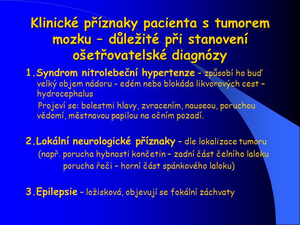 Klinické příznaky pacienta s tumorem mozku – důležité při stanovení ošetřovatelské diagnózy 1.Syndrom nitrolebeční hypertenze – způsobí ho buď velký o