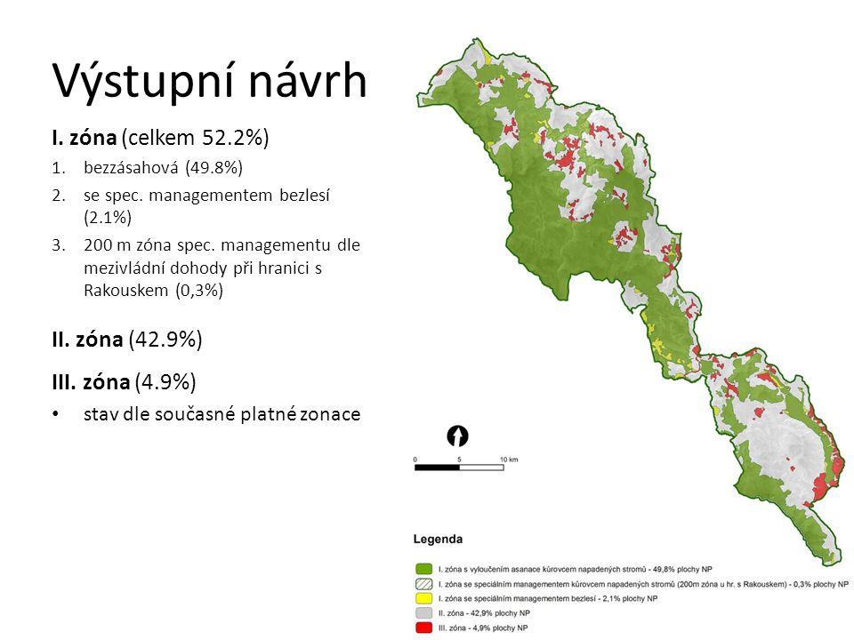 Výstupní návrh I. zóna (celkem 52.2%) 1.bezzásahová (49.8%) 2.se spec.