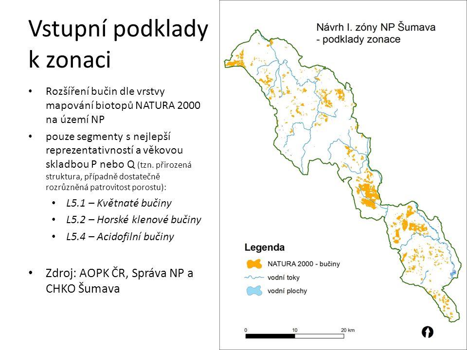 Vstupní podklady k zonaci Rozšíření dalších cenných biotopů dle vrstvy mapování biotopů NATURA 2000 na území NP: A4 - Subalpínská vysokobylinná vegetace K1 - Mokřadní vrbiny L2 - Horské olšiny, jasanovo-olšové luhy L4 - Suťové lesy L10 - Rašelinné březiny, brusnicové bory M1 - Rákosiny a vegetace vys.