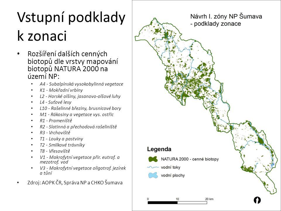 Vstupní podklady k zonaci Údolní fenomén neregulovaných horských toků Kaňony Křemelné, Vydry, Otavy Zdroj: AOPK ČR, Správa NP a CHKO Šumava