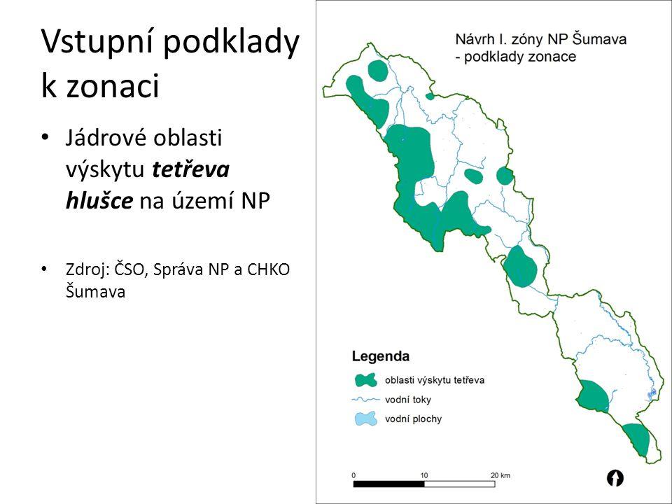 Vstupní podklady k zonaci Souhrn všech podkladů Zdroj: AOPK ČR, Správa NP a CHKO Šumava
