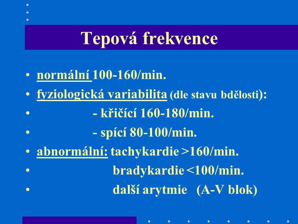 Tepová frekvence normální 100-160/min. fyziologická variabilita (dle stavu bdělosti ): - křičící 160-180/min. - spící 80-100/min. abnormální: tachykar