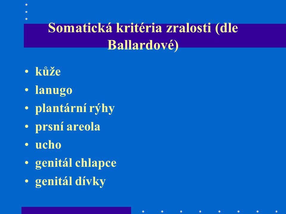 Somatická kritéria zralosti (dle Ballardové) kůže lanugo plantární rýhy prsní areola ucho genitál chlapce genitál dívky
