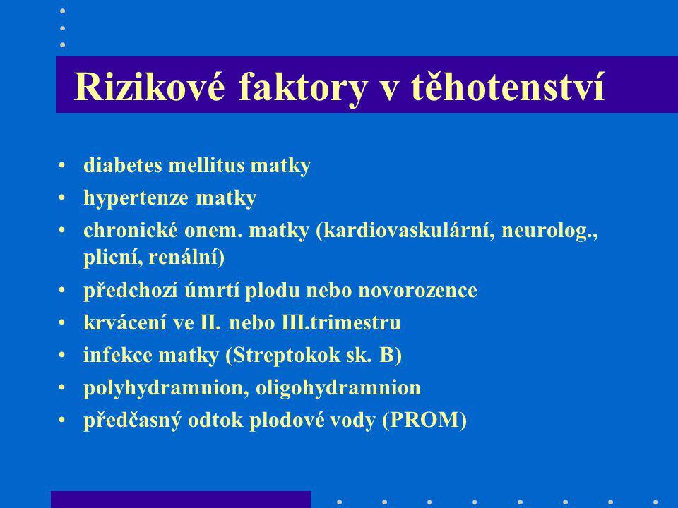 Rizikové faktory v těhotenství diabetes mellitus matky hypertenze matky chronické onem. matky (kardiovaskulární, neurolog., plicní, renální) předchozí