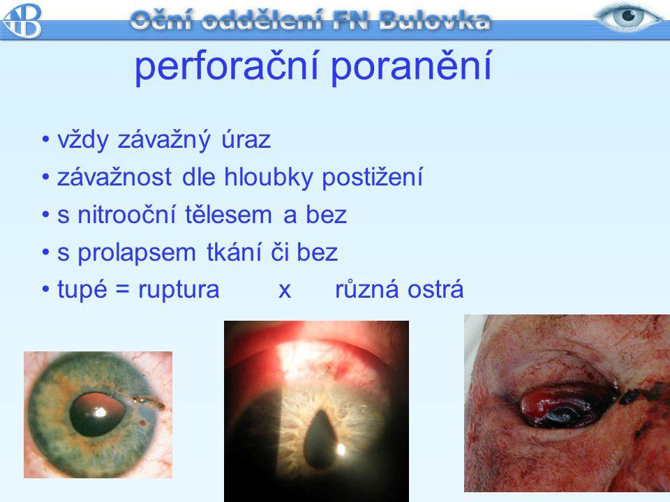 perforační poranění vždy závažný úraz závažnost dle hloubky postižení s nitrooční tělesem a bez s prolapsem tkání či bez tupé = ruptura x různá ostrá