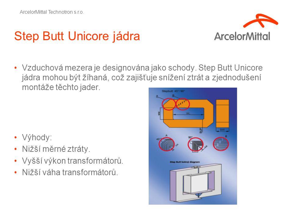 Step Butt Unicore jádra Vzduchová mezera je designována jako schody.