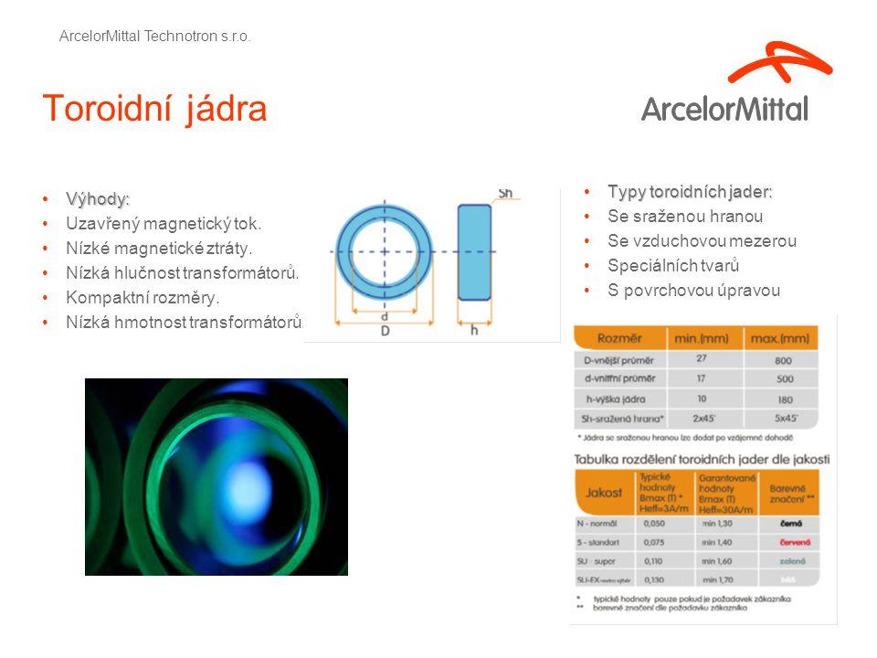 Toroidní jádra Výhody:Výhody: Uzavřený magnetický tok.