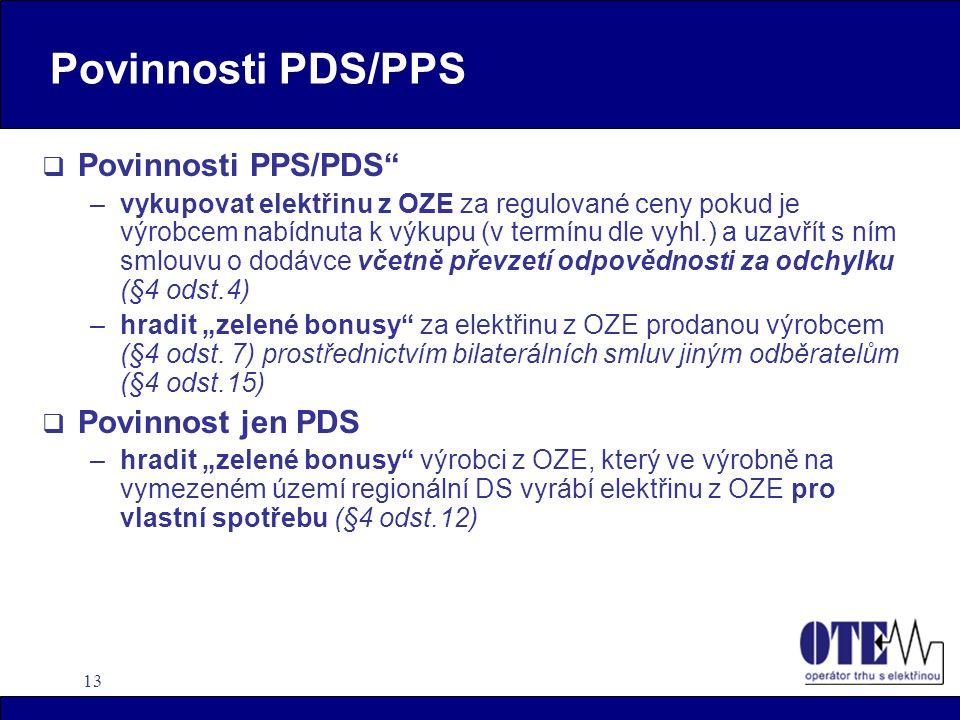 """13 Povinnosti PDS/PPS  Povinnosti PPS/PDS"""" –vykupovat elektřinu z OZE za regulované ceny pokud je výrobcem nabídnuta k výkupu (v termínu dle vyhl.) a"""