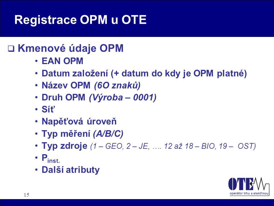 15 Registrace OPM u OTE  Kmenové údaje OPM EAN OPM Datum založení (+ datum do kdy je OPM platné) Název OPM (6O znaků) Druh OPM (Výroba – 0001) Síť Napěťová úroveň Typ měření (A/B/C) Typ zdroje (1 – GEO, 2 – JE, ….