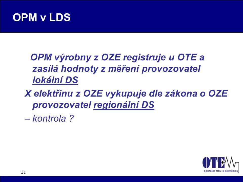21 OPM v LDS OPM výrobny z OZE registruje u OTE a zasílá hodnoty z měření provozovatel lokální DS X elektřinu z OZE vykupuje dle zákona o OZE provozovatel regionální DS –kontrola ?