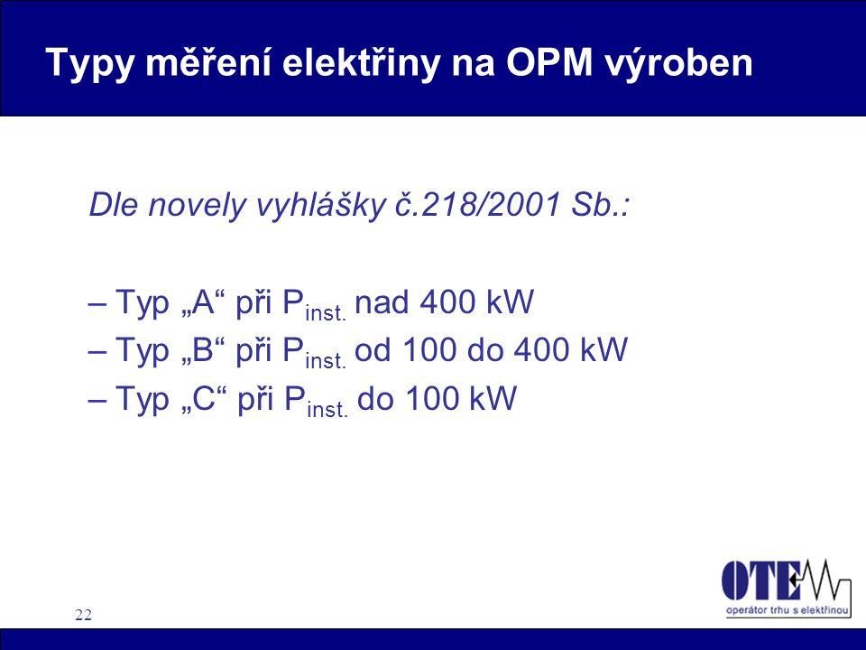 """22 Typy měření elektřiny na OPM výroben Dle novely vyhlášky č.218/2001 Sb.: –Typ """"A"""" při P inst. nad 400 kW –Typ """"B"""" při P inst. od 100 do 400 kW –Typ"""