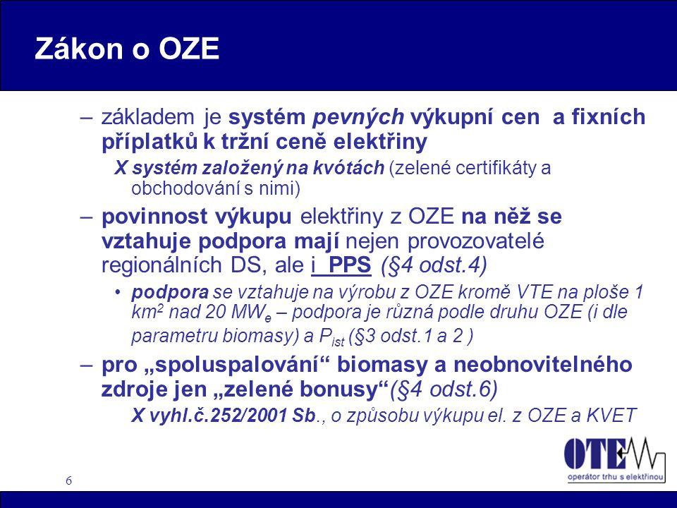 6 Zákon o OZE –základem je systém pevných výkupní cen a fixních příplatků k tržní ceně elektřiny X systém založený na kvótách (zelené certifikáty a ob