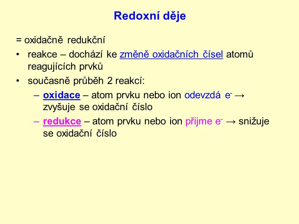 Redoxní děje = oxidačně redukční reakce – dochází ke změně oxidačních čísel atomů reagujících prvků současně průběh 2 reakcí: –o–oxidace – atom prvku nebo ion odevzdá e - → zvyšuje se oxidační číslo –r–redukce – atom prvku nebo ion přijme e - → snižuje se oxidační číslo