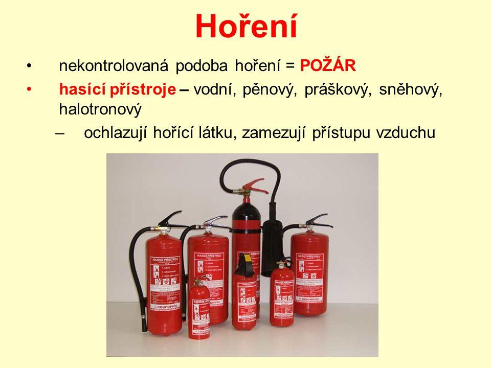 Hoření nekontrolovaná podoba hoření = POŽÁR hasící přístroje – vodní, pěnový, práškový, sněhový, halotronový –o–ochlazují hořící látku, zamezují přístupu vzduchu
