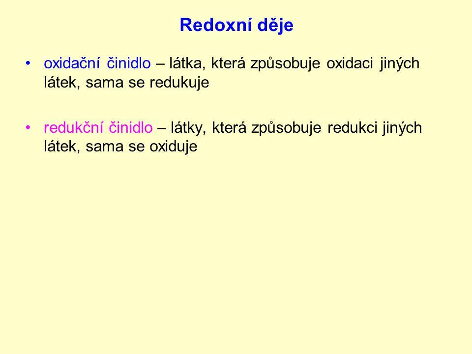Redoxní děje oxidační činidlo – látka, která způsobuje oxidaci jiných látek, sama se redukuje redukční činidlo – látky, která způsobuje redukci jiných látek, sama se oxiduje