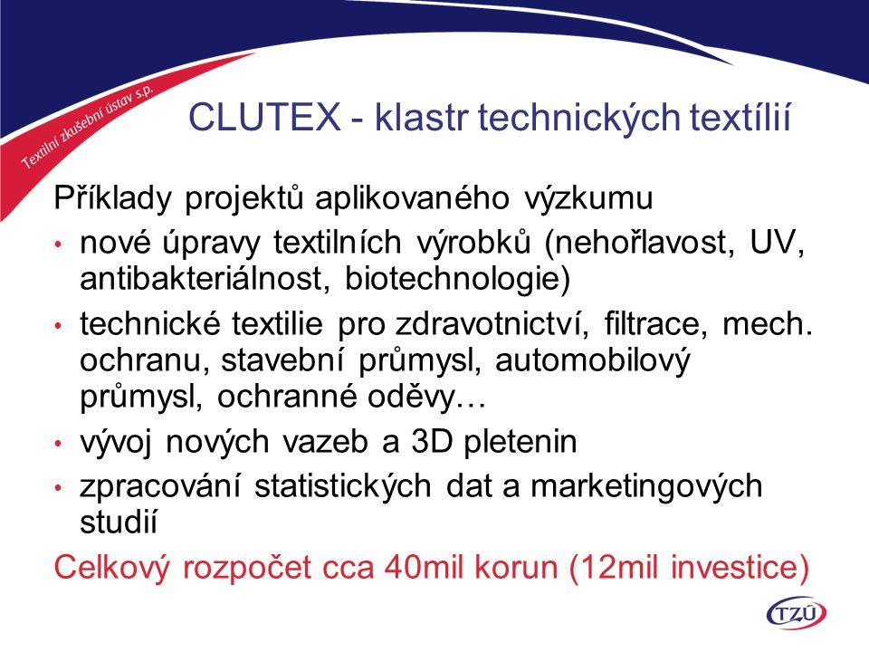 CLUTEX - klastr technických textílií CLUTEX jako sdružení je zapojen do několika nár.