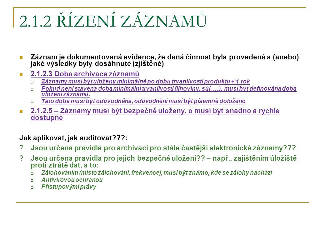 2.1.2 ŘÍZENÍ ZÁZNAMŮ Záznam je dokumentovaná evidence, že daná činnost byla provedená a (anebo) jaké výsledky byly dosáhnuté (zjištěné) 2.1.2.3 Doba a