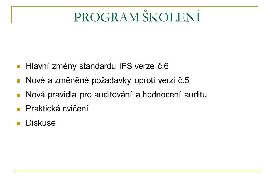PROGRAM ŠKOLENÍ Hlavní změny standardu IFS verze č.6 Nové a změněné požadavky oproti verzi č.5 Nová pravidla pro auditování a hodnocení auditu Praktic