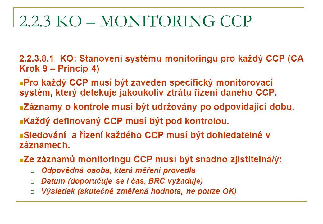 2.2.3 KO – MONITORING CCP 2.2.3.8.1 KO: Stanovení systému monitoringu pro každý CCP (CA Krok 9 – Princip 4) Pro každý CCP musí být zaveden specifický