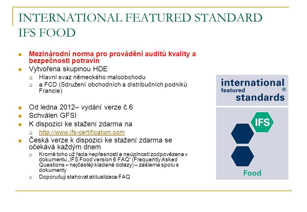 INTERNATIONAL FEATURED STANDARD IFS FOOD Mezinárodní norma pro provádění auditů kvality a bezpečnosti potravin Vytvořena skupinou HDE  Hlavní svaz ně
