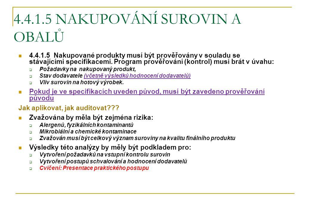 4.4.1.5 NAKUPOVÁNÍ SUROVIN A OBALŮ 4.4.1.5 Nakupované produkty musí být prověřovány v souladu se stávajícími specifikacemi. Program prověřování (kontr