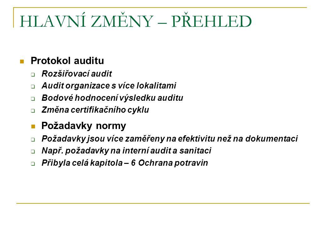 HLAVNÍ ZMĚNY – PŘEHLED Protokol auditu  Rozšiřovací audit  Audit organizace s více lokalitami  Bodové hodnocení výsledku auditu  Změna certifikačn