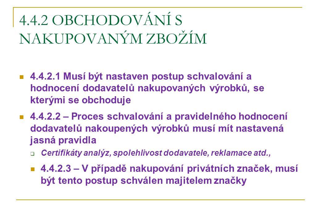 4.4.2 OBCHODOVÁNÍ S NAKUPOVANÝM ZBOŽÍM 4.4.2.1 Musí být nastaven postup schvalování a hodnocení dodavatelů nakupovaných výrobků, se kterými se obchodu